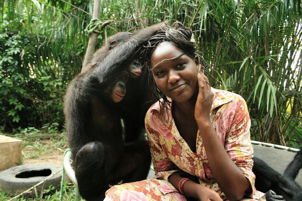Les Mamas-32 Sake, Katako & Mama Esperence@Nursery, Lola, Kinshasa<br /> 孩子们早已把Mama当成是自己同类,所以他们向妈妈表达爱意的方式自然是──理毛。